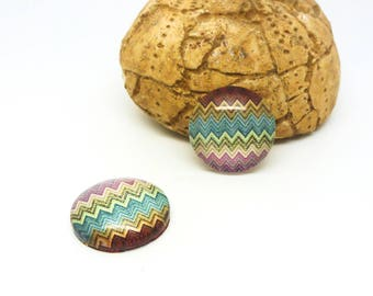 2 glass cabochons 14mm geometric Chevron yellow/green/purple (SFCV11-03)