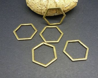 5 connectors geometric rings closed 17 * 15mm bronze Hexagon shape (8SCB18)