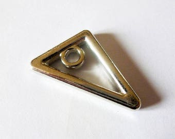 2 charms triangle geometric 25 * 19mm old silver (SFAV06)