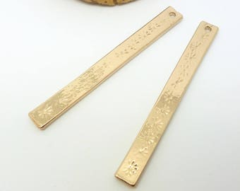 2 rectangle pendants with stars 50 * 5mm, gold (USBD05)