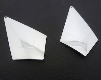 2 pendants silver Rhombus 50 * 27mm - geometric spirit (SFBA12)