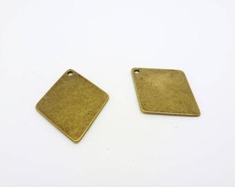 2 pendants charms Rhombus geometric ethnic 29 * 24mm bronze (8SBB05)