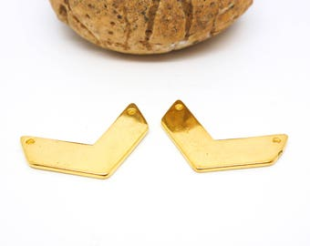 4 connectors geometric Chevron smooth 2 holes 14 * 21 mm gold plated (8SCD34)