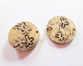 6 round connectors fancy 23 mm antique silver