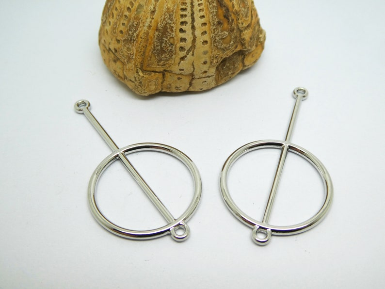 earring holders KCA02 4 Round graphics connectors 48-25mm silver