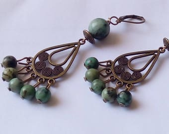 African turquoise chandelier earrings