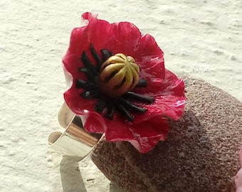 Red poppy - cold porcelain ring