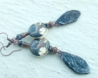 Dominant black Peacock earrings