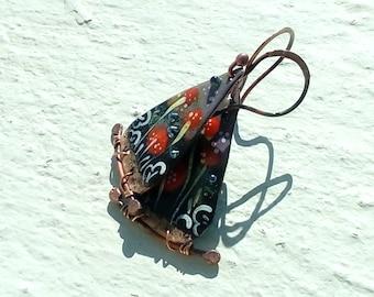 Sublime - flowering copper enameled earrings