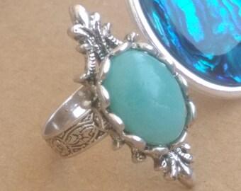 Elven amazonite gemstone ring