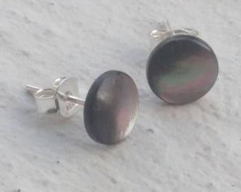 Earrings - grey abalone shell chip