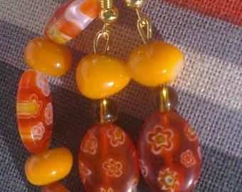 Bracelet and dangle earrings millefioris sunny