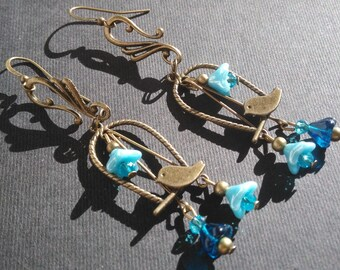 """Earrings """"birds and flowers of glass - blue color"""""""