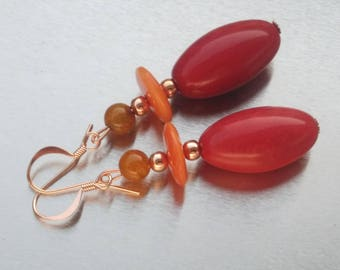 Earrings: Olivettes red and Golden Suns