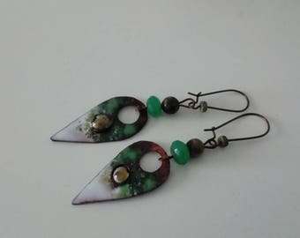 Arrows - enameled copper earrings
