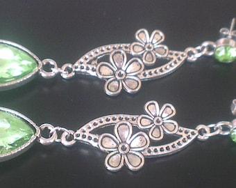 Earrings: Peridot Crystal and flowers