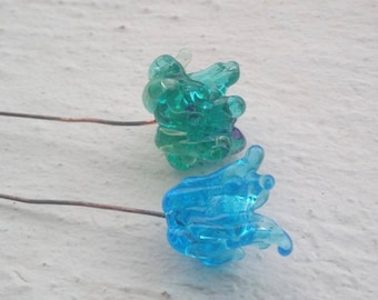 Duo of blue flowers on stems - Lampwork Glass