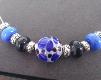 Necklace with lavender and black - blue - blue Lampwork Glass Beads