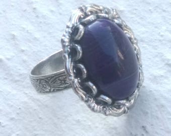 Purple Agate ring striped shades