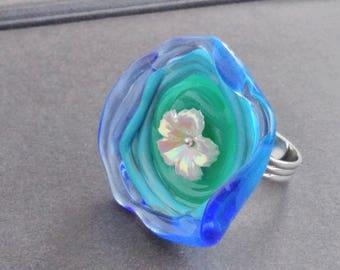 Large ring - Aqua Lampwork Glass flower
