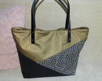 Gold-faux leather black - trendy - chic tote bag