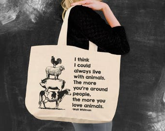 love animals walt whitman vegan shopping bag tote bag canvas tote bag beach tote canvas tote christmas gift ideas