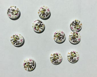 Set of 10 cute little wooden buttons with motifs monkey pink and white size 1 cm
