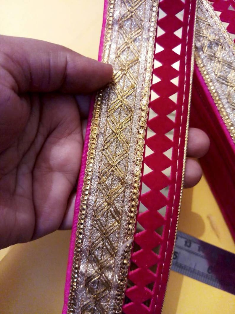f14522673838 Golden Pink Lace,Indian fabric trim,Sequin Lace for wedding  Dress,Decorative Trim Costume trim, width 1.85 inch Price for 1 yard NFL059