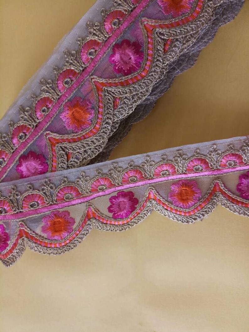 de9a49a288f0 Decorative golden pink floral zari work Lace Sari Border Blouse Lace scarf  Lace Indian Fabric Trim-Price per 01 Yard-Width 2.0 Inch NFL118