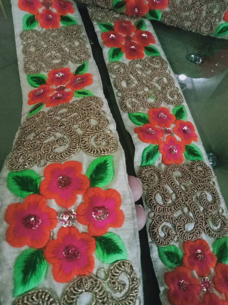 Bridal Wear Embellishment,Indian Ribbon,Jacquard-WIDTH 2.7  inch-Price for 1 yard Decorative skin sequin zari work Trim,Indian Fabric Trim