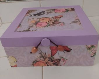 Lilac Butterfly Keepsake Box