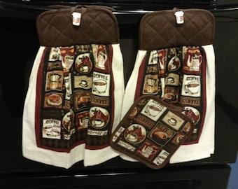 Espresso Coffee Hanging Kitchen Towel Set with Pot Holder