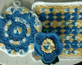 Hand crocheted Dishcloth, with matching potholder and flower scrubbie