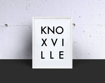 KNOXVILLE Digital Print, Digital Download, Printable Art, Wall Art, Word Art, Instant Download, Kitchen Decor, Modern Art, Minimalist