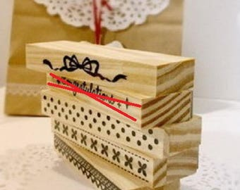 Beautiful large wooden stamps, writing and deco romantic style, very trendy