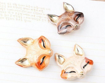 gorgeous 1 charm, enameled Fox head pendant shiny glitter and metal gold 29 * 30 mm