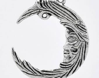 1 Locket, antique silver Moon charm, 38 * 32mm