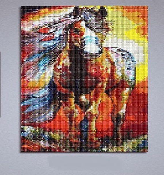 Nouveau Superbe Kit Tableau Pixel Art Modèle Cheval Mustang Strass Acrylique à Coller