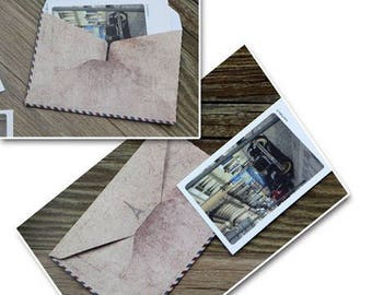 10 tiny envelopes spirit vintage Paris 10 * 7.5 cm