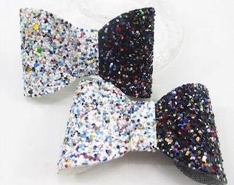 2 cute bows bi-color black and white glittery multicolor 65 * 40mm