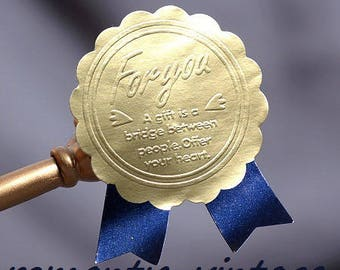 "10 Aufkleber Sticker Dekorationen Medaille ""for you"" Gold Effekt Metall 45 * 35mm"