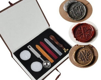 """superbe coffret 8 pièces! tampon bois et métal pour cacheter vos enveloppes à la cire modèle """"for you"""""""