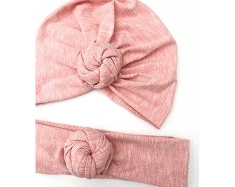 c08dc3de899b bonnet, turban, noeud fleur, jersey de coton, rose pâle chiné.