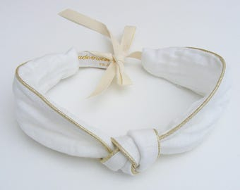 White cotton gauze headband /headband and adjustable gold edges