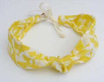 Bandeau / headband viscose géométrique jaune réglable