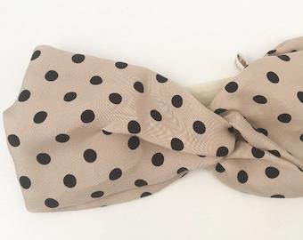 Headband / headban viscose nude big black peas, for baby, child and adult