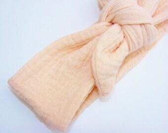 Soft nude cotton gauze headband