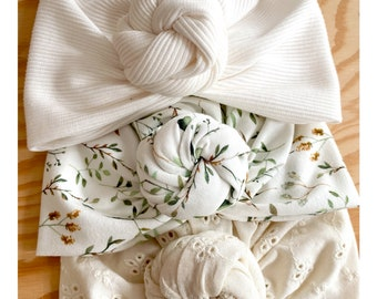 Turban, flower knot, Oeko tex certified jerseys, from birth to adult.