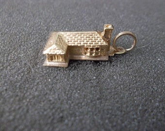 14k Yellow gold Log Cabin Charm, solid gold