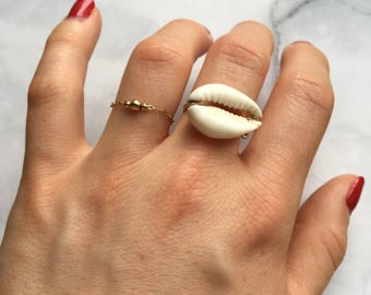 gold plated cowrie shell ring